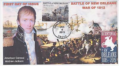 JVC CACHETS- BATTLE OF NEW ORLEANS FIRST DAY COVERS FDC's TOPICAL WAR OF 1812 #2