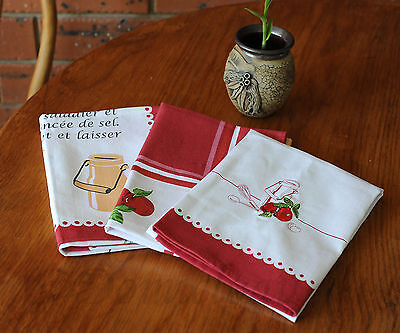 Pure Cotton Embroidery and Printed Napkins Tea Towel Set of 3 50X70CM White/Red