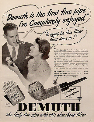 1949 Demuth Pipes Vintage Magazine Ad