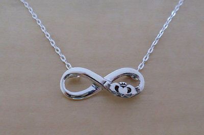 """925 Sterling Silver Infinity Claddagh Pendant & Adjustable 16 17"""" Chain Necklace"""
