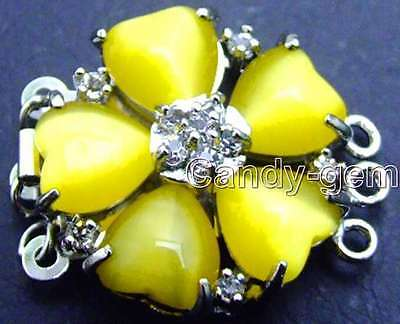 Big 25mm Heart yellow Cat's eye(opal) petal rhinestone Flower 3 strand clasp-165