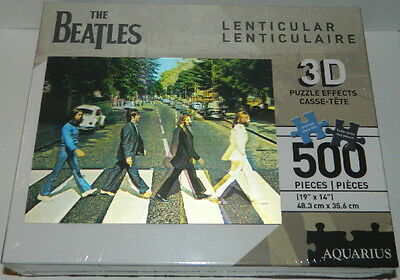 The Beatles Abbey Road Album 500 Piece Lenticular 3D Jigsaw Puzzle, NEW SEALED