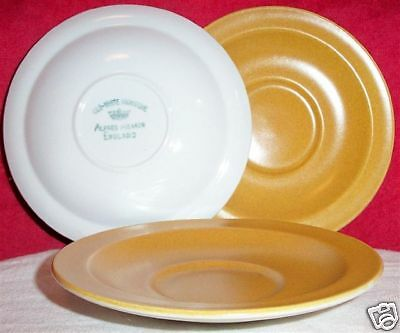 3 Alfred Meakin GLO-WHITE IRONSTONE Saucers Gold Matte Glaze #EE-814-ABC 50% OFF