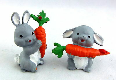 Dolls House Miniature Garden Accessory 2 Pet Toy Rabbits with Carrots