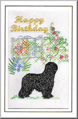 Briard Birthday Card Embroidered by Dogmania  - FREE PERSONALISATION