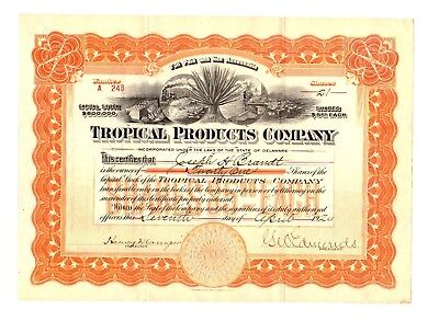 1924 Tropical Products Company Stock Certificate