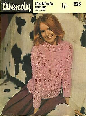 Vintage Knitting Pattern 1960's Lacy Roll Neck Jumper
