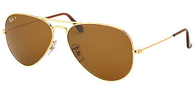 Ray Ban RB3025 Large Metal Aviator 001/57 Gold Sunglasses Brown Polarized Lens