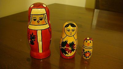 SET OF THREE RUSSIAN NESTING DOLLS SNOWMAN MADE IN RUSSIA