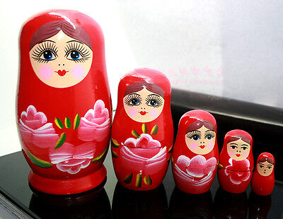 NEW RED WOODEN NESTING RUSSIAN BABUSHKA DOLLS GIRL'S GIFT TOY NURSERY ROOM DECOR