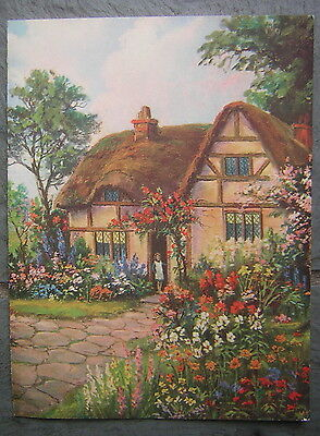 Vintage Greeting Card with Country Home & Garden Flowers Setting