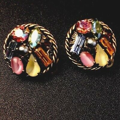 Vintage Estate Jewelry Gold Tone Multi Color Rhinestone 3/4In Clip On Earrings