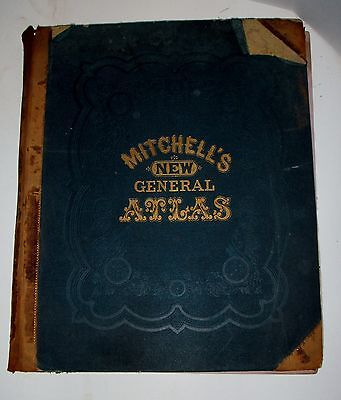 1874 AUGUSTUS MITCHELL NEW GENERAL ATLAS MAPS in COLOR COMPLETE TEXAS BOSTON N.Y