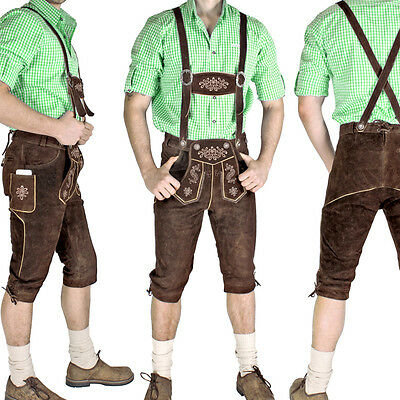 Lederhosen Knickerbockers Brown Traditional costume leather trousers SMARTPHONE