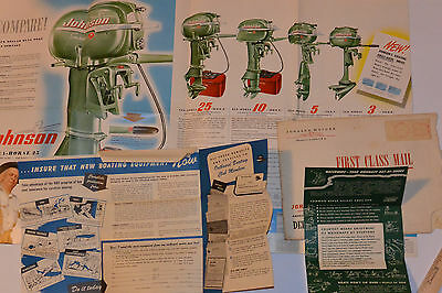 Vintage 1952 Johnson Sea-Horse Outboard Engines Brochure/Fold Out Poster & More!