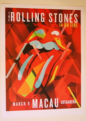The Rolling Stones - Lithograph Poster - 14 On Fire - 2014 - Macau - China