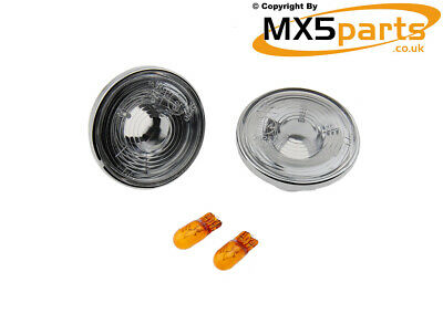 MX5 Clear Side Repeaters Indicators Chrome Trim Mazda MX-5 Mk1 Mk2 Mk3 1989>2015
