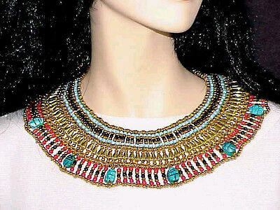 Halloween Costume LUCK Scarabs Blue Red Small Cleopatra Necklace