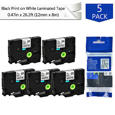 5PK TZe-231 Black on White Label Tape For Brother P-Touch PT-550 E550W 12mm*8m