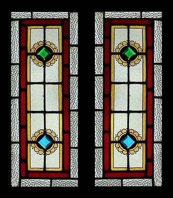 Victorian Painted Jeweled Pair Antique English Stained Glass Windows