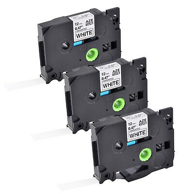 3PK 12mm Label tape For Brother P-Touch PT-D400 PT-D600 TZe-231 Black on White
