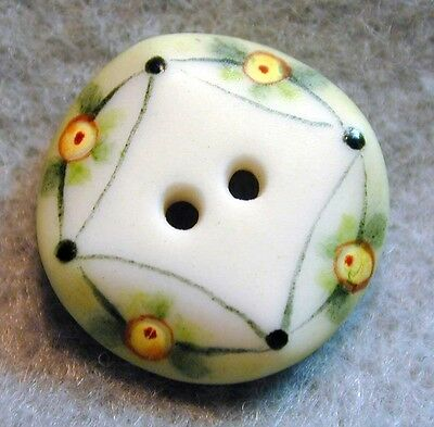 Handcrafted Porcelain Button Beveled Edge Flowers  FREE US SHIPPING