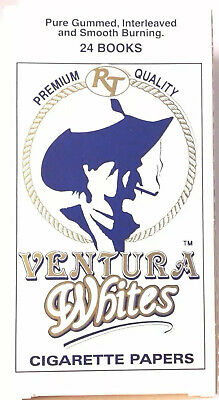 24 Packs Ventura White single wide cigarette rolling papers 70 mm full box