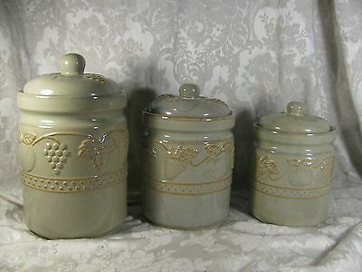 3 Ceramic Fruit with Leaves Canisters