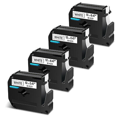 4PK For Brother P-touch PT-65 PT-70 M-K231 M-231 Black on White Label Tape 12mm