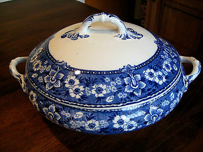 Antique Pountney Bristol England Serving Bowl w Lid Tureen Blue White