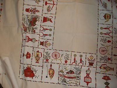 VINTAGE WHITE AND BEIGE COTTON  TABLECLOTH WITH PRINTS OF,HOUSES AND OTHER ITEMS