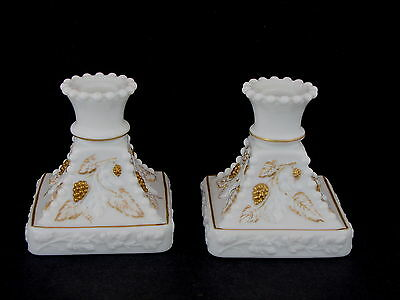 "Westmoreland Milk Glass Beaded Grape 4"" Square Candleholder Pair w Gold Decor"
