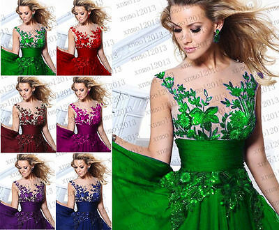 Formal Long Ball Gown Party Prom Bridesmaid Evening Dress Size 6-16
