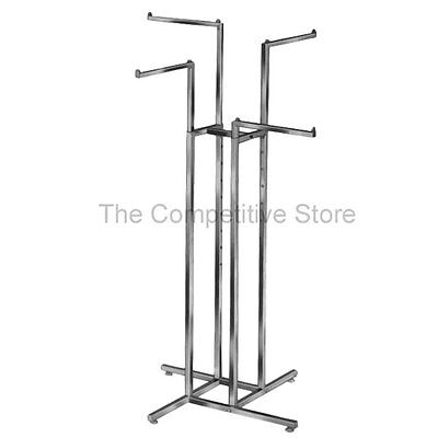 """4-Way Clothing Rack Straight Arms - Adjustable - Made Of 1"""" Chrome Square Tubing"""