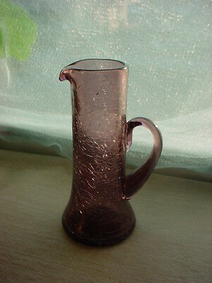 Purple Crackle Glass Cruet Pitcher Hand Blown 5 inch