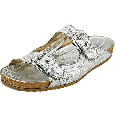 Stuart Weitzman Freely Women  Open Toe Leather Silver Slides Sandal