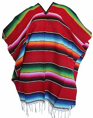 Adult Colorful Striped Saltillo Serape Mexican Fiesta PONCHO pancho costume