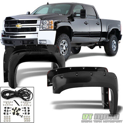 Fits 07-14 CHEVY SILVERADO 1500 2500 3500 HD PAINTED POCKET STYLE FENDER FLARES