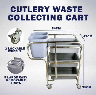 47 x 84x 95CM Stainless Steel Kitchen Dining Food Waste Cutlery Trolley Cart
