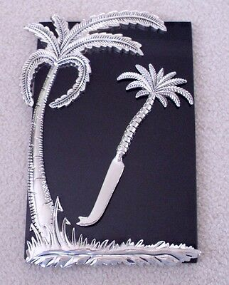 GODINGER SILVER ART CO. CHEESE BOARD PALM TREE DESIGN MARBLE w/KNIFE