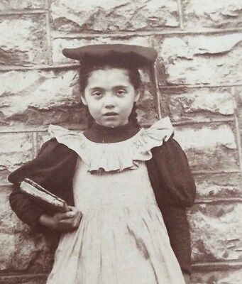 Vintage 1913 Old Photograph Of Schoolgirl With Books 9 Years Old Amy Floreth