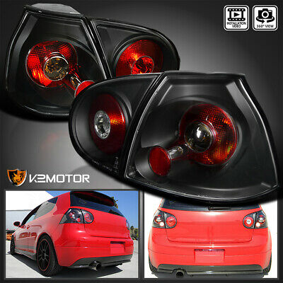 Fits 2006-2009 VW Golf/GTI/R32 MK5 Black Tail Lights Rear Brake Lamps Left+Right