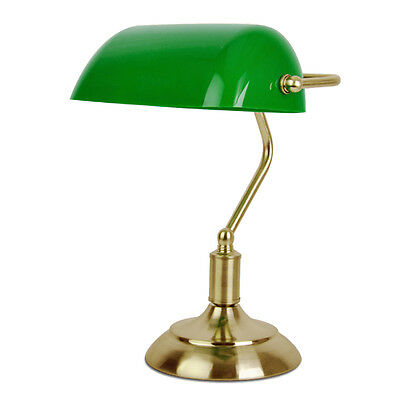Traditional Bankers Table Desk Lamp in Antique Brass & Green Plastic Light Shade