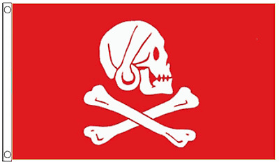 Pirate Jolly Roger Henry 'Long Ben' Avery The Devon Pirate Red 5'x3' Flag