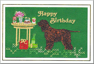 Irish Water Spaniel Birthday Card Embroidered by Dogmania - FREE PERSONALISATION