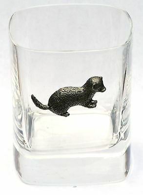 Ferret Pewter Motif Pair of Crystal Glasses Presentation Box Hunting Gift Award