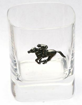 Horse Racing Pewter Motif Pair of Crystal Tumblers Presentation Box Hunting Gift
