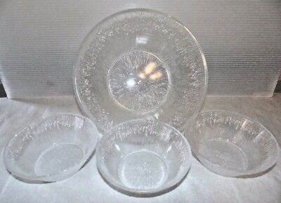 Mid Century Vintage Pressed Bark Clear Ice Plastic Salad Bowl Set Large Bowl + 3