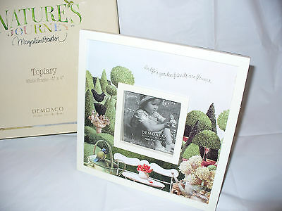 NEW Marjolein Bastin Picture Frame by Demdaco Topiary White Nature's Sketchbook