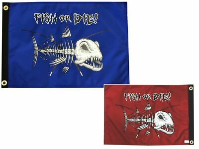 """Pirate Flag 12X18"""" Fish Or Die Duel-Sided Made In The Usa Sinister Series"""